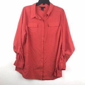 Lane Bryant Button Down Button Down Blouse Top